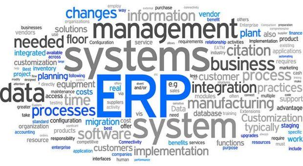 Nuvem de palavras relacionadas ao termo ERP